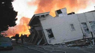 San Francisco's Marina District burns after the earthquake in which broken gas mains fuelled the flames.