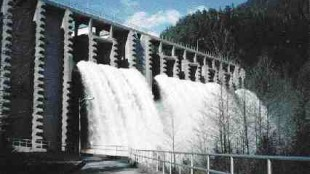 The Seymour Falls dam is one of several in Vancouver's North Shore mountains that are being upgraded to withstand an earthquake and ensure the water supply. Klohn-Crippen and Acres International are consulting engineers.