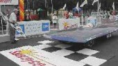 Queen's University solar car at the finish line.