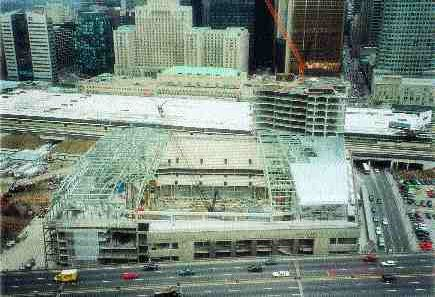 Building under construction viewed from south.