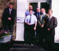 Above, l. to r.: Euan Evenson, John Twiselton (behind) and Craig Rousell of ASW Sheerness, Howard Goodfellow, John Clayton, Michael Kempe