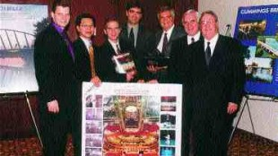 Team from Dupras Ledoux Associs of Montreal, after receiving the Schreyer Award for electrical and mechanical systems for the Bellagio Hotel Cirque du Soleil Theatre. Left to right: Andre Acciari, Tuong Phong Huynh, ing., Luc Fortin, Andr Dupras, ing., Claude Dupras, ing., Aurle Bastien, ing., Jean-Pierre Ledoux, ing.