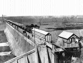 Irrigation dam at Bassano, Alberta, designed by Hugh B. Muckleston of CPR and begun in 1909.