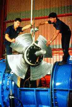Natural Resources CanadaAssembly of a small hydro turbine. We can expect increasing use of such small, localized generating systems that do not contribute to greenhouse gases.
