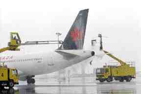 De-icing can be done on up to six planes at a time.