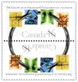 Canada Post 's stamp marking the 75th anniversary of the Ritual of the Calling of an Engineer. The stamp is designed by Darrell Freeman, of Art Works, Halifax and was issued in April.