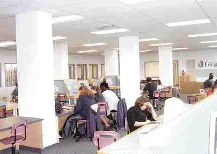 Lighting the large open study areas and computer work stations meant balancing artificial and natural light.