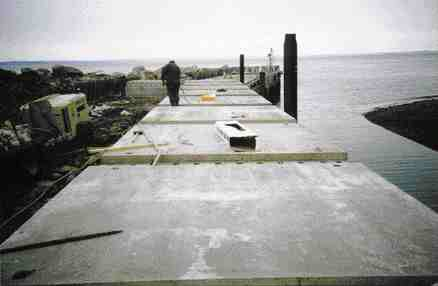 Deck panels waiting for concrete closure strips.