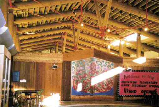 The multi-purpose room roof has cantilevered timbers and a three-dimensional log and steel rod strut system.