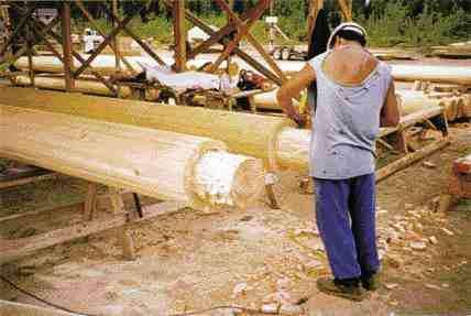 Native worker turning logs.