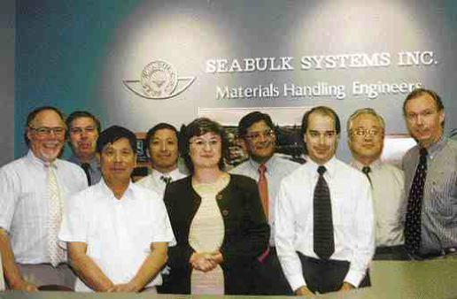 SCHREYER AWARDSeabulk Systems Inc., Richmond, B.C., for Semi-Submersible Transshipper, Indonesia. Above, some of the team, l. to r.: Eric Hurst, Peter Phillips, Dale Chen, P.Eng., Rafael Santos, Anna Klimek, P.Eng., Sidney Sridhar, P.Eng., David Popoff, P.Eng., Bong Chung, Patrick Kennedy, P.Eng.