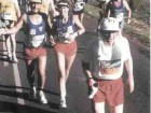 Haas (in white cap) runs in the Comrades Ultramarathon in South Africa.