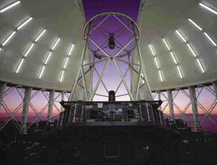 As the Gemini telescopes begin to search the night sky for the origins of our universe, their delicate equipment is protected by domes designed and built in B.C.. 1999, Neelon Crawford, Gemini/National Science Foundation