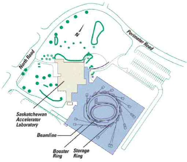 """Above: plan of the site. The linear accelerator in the basement of the existing building to the west of the new facilities (in blue) is the """"gun"""" that starts off the process. It sends a stream of electrons through a linear accelerator and then 8 metres up a new transfer tunnel into the main experimental hall."""