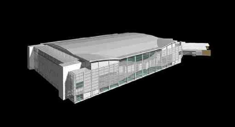 AODBT Architecture's rendering of the new facilities. The structure is built on over 700 cast-in-place concrete piles and on slabs that are isolated from each other to minimize the transfer of vibrations. Air conditions inside the main experimental hall have to be precisely controlled since variations in the ambient temperatures can affect the stability of the beam.