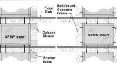 Figure 2. Upgrade in non-ductile reinforced concrete moment frames with steel plate shear wall system.