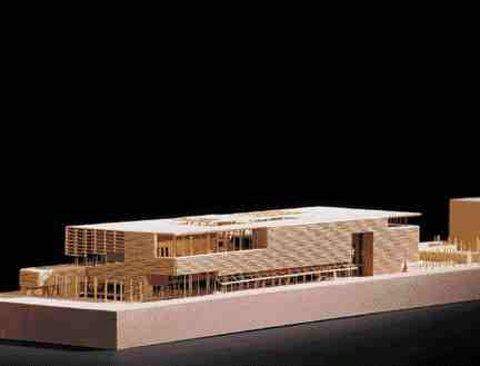 Grande bibliotheque du Quebec in Montreal. Model photo courtesy Patkau Architects.
