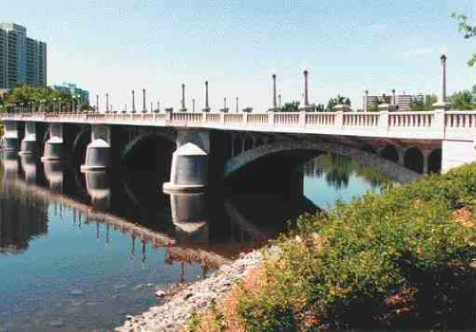 Restored bridge; everything except the arches was rebuilt in the above-water portions.