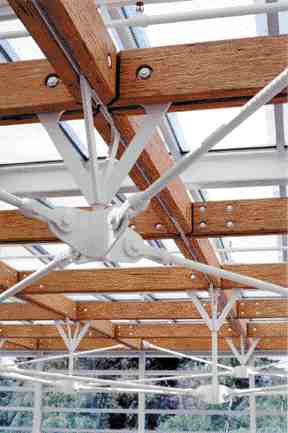The atrium roof in the North Vancouver Municipal Hall of 1997 showing Fast and Epp's typical orchestration of steel and wood elements.