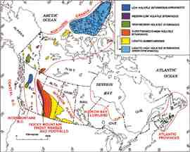 Map of coal fields in Canada by the Geological Survey of Canada.