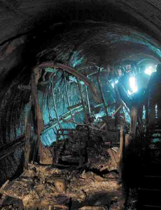 burnt cable car inside the Kitzsteinhorn mountain tunnel in Kaprun, Austria. Fire killed over 155 skiers trapped in a cable car in the tunnel on November 14, 2000.