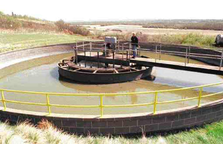 Sewage settling pond in North Battleford, near North Saskatchewan River.