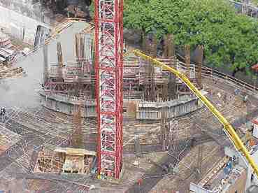 Transfer Level 5 under construction with tower beginning to take shape.
