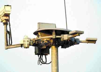 Pole-mounted closed-circuit camera.