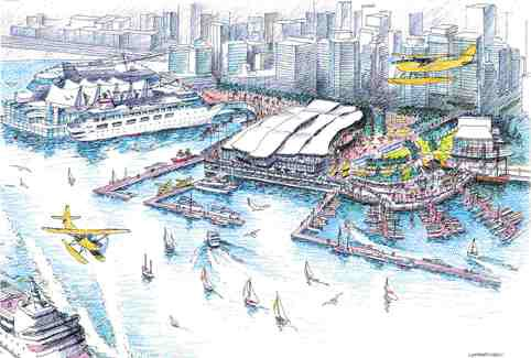 Artist's rendering of a proposed convention centre to be sited to the west of the existing Canada Place on Vancouver's waterfront.