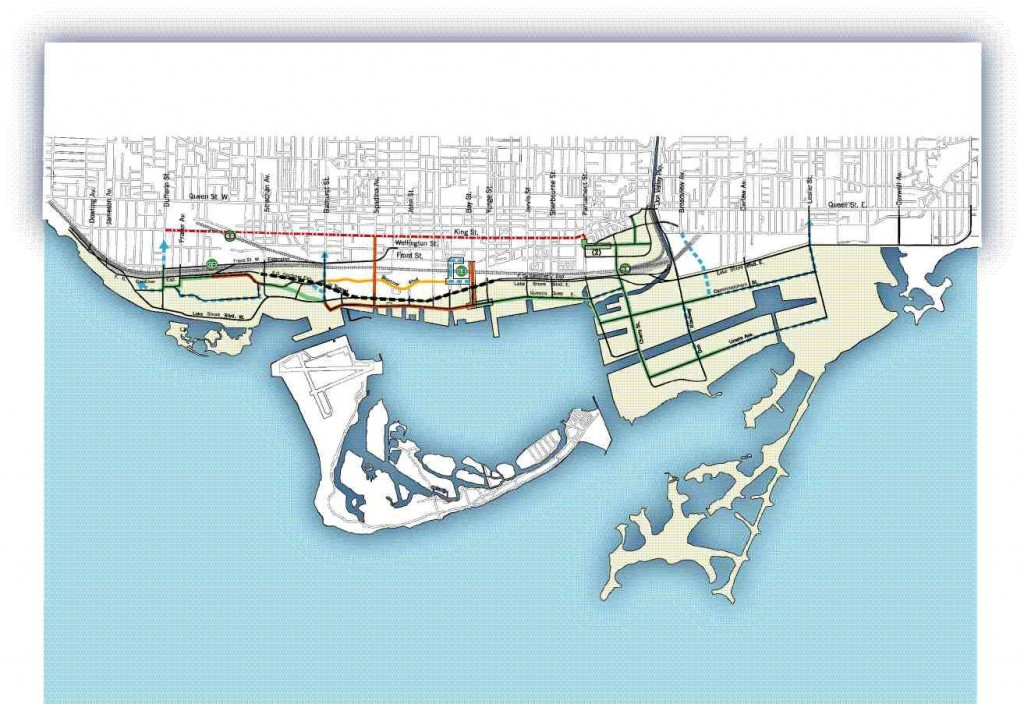 Central Waterfront transit plan (adapted). The black broken line indicates proposed road tunnel, the red broken line is transit priority improvements, and the green line and broken blue line show proposed streetcar rights-of-way. Small artist renderings show (left to right), proposed Lakeshore Boulevard from east; Lakeshore Boulevard from west diverted by Fort York; proposed green corridor from Don River through port lands. All illustrations from Making Waves, copyright City of Toronto.