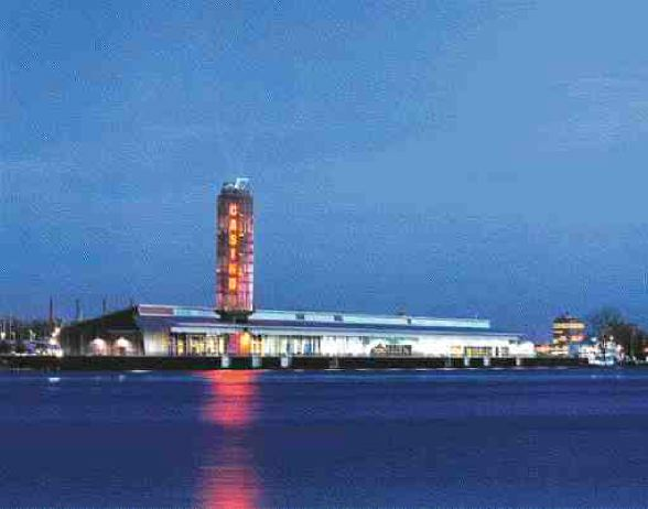 The finished casino; because it occupies an existing building it can be sited close to the water's edge.