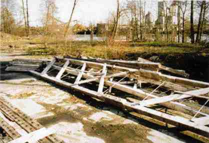 Pile of damaged trusses as found.