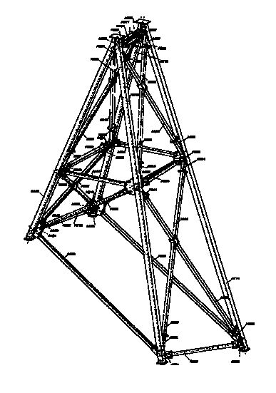 Drawing for the new A-frames between existing towers. Due to the varying pedestal elevations and legs that sloped in multiple planes, the steel fabricator had to deal with complex geometry.