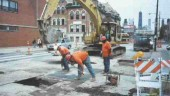 Road excavation in Chicago as part of a Canada-U.S. research project on utility cuts.