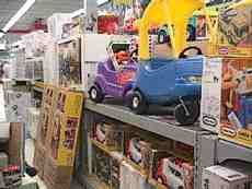 Toy display in test site retail area.