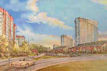"""Artist's rendering of the site transformed. It is to be called """"Windermere by-the-Lake."""""""