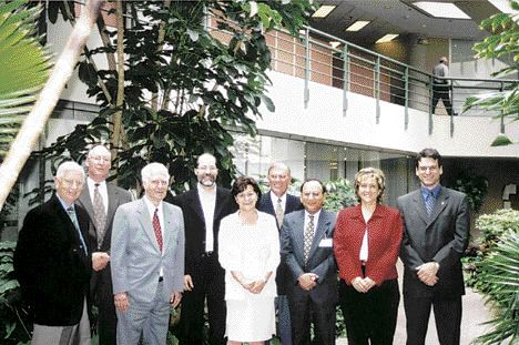 THE JURYHappy that their work is done, the jurors pose in the atrium of Canadian Consulting Engineer magazine's office building in Don Mills, Toronto. Left to right: Philippe Lefebvre, Tim Jervis, Donald Haws, Mike Murray, Marta Ecsedi (chair), Donald Ingram, Justin Jain, Marie Lemay, Christian Martin.
