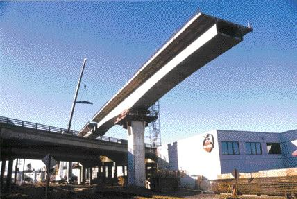 Balanced cantilever structure over the Trans-Canada highway.