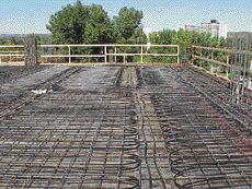 In-slab pipe layout before concrete placement.