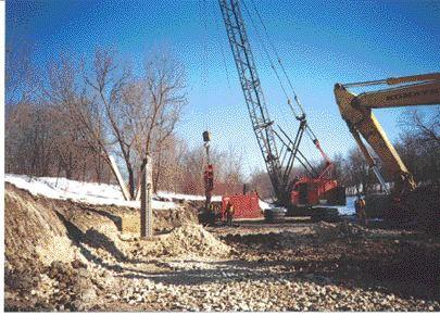 Compacting limestone into 10-metre deep drill holes