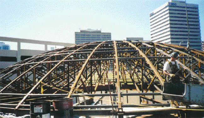 Complex structural steel framing for dome.