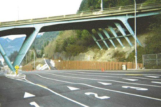 Sheet steel pile retaining wall near the slant leg Marine Drive Overpass.
