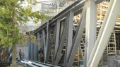 One of the massive structural members; this steel truss was used in the superstructure of the southwest loading dock.