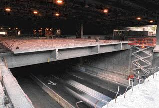 Expressway enclosure under construction; the top of the expressway now forms the ground floor of the convention centre