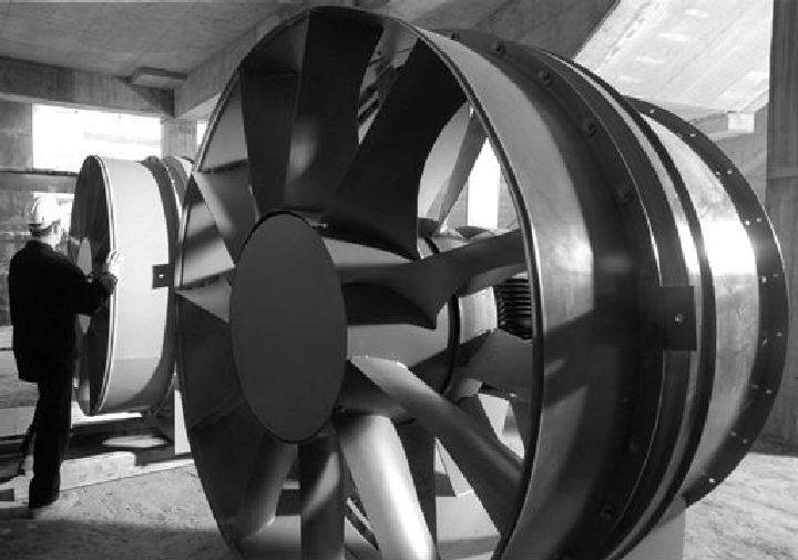 Giant fan, one of nine, used to ventilate the expressway tunnel; each fan has a 200-hp motor.