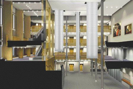 Rendering of new atrium with suspended light pipe lanterns, up to 14 metres high.