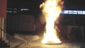 Tests to extinguish a gasoline fire at 15, 30 and 45 seconds using a floor-level nozzle and 2% aqueous film foam CAF system.