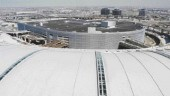 View over new terminal roof to parking garage at Pearson International Airport, Toronto.