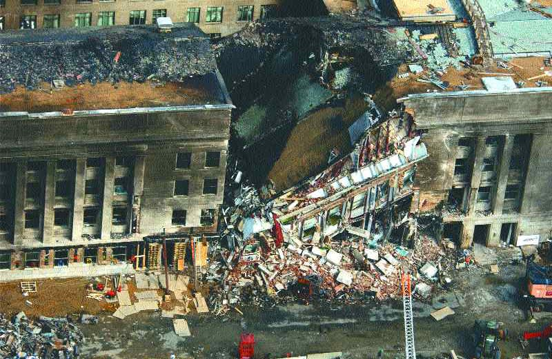 Aerial view of collapsed portion of Ring E