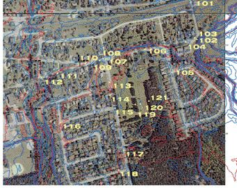Part of the orthophoto mapping, with contour lines generated from the lidar overlaid. The numbers refer to check points.